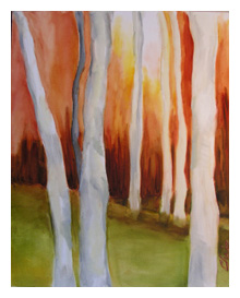 Diptych: Aspens Orange & Red Series II 30x24 (right)