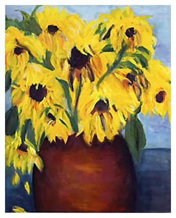 Large Sunflowers Red Vase